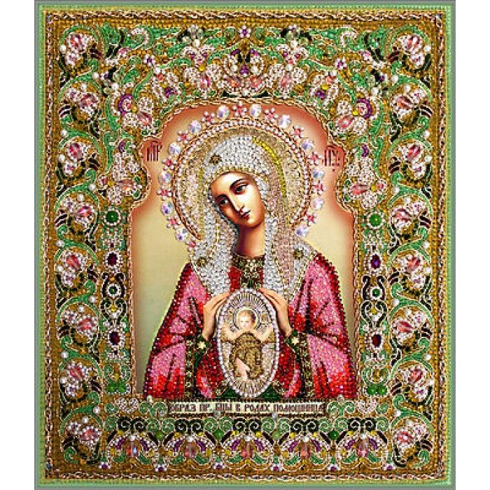 Набор для вышивания хрустальными бусинами ОБРАЗА В КАМЕНЬЯХ арт. 7737 Богородица Помощница в родах (Храмовая икона) 36х42,5 см