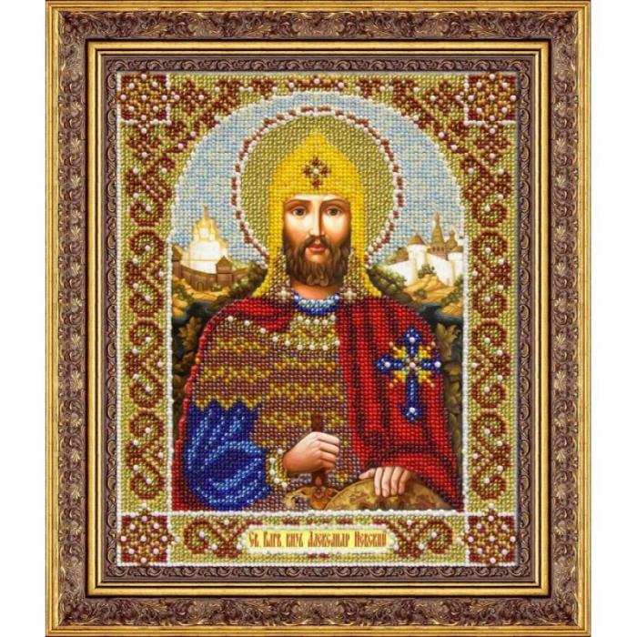 Набор для вышивания бисером ПАУТИНКА арт.Б-1052 Св.Александр Невский 25х20 см