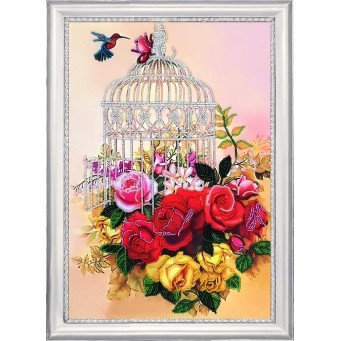 Набор для вышивания BUTTERFLY арт. 136 Клетка в розах 36х25 см