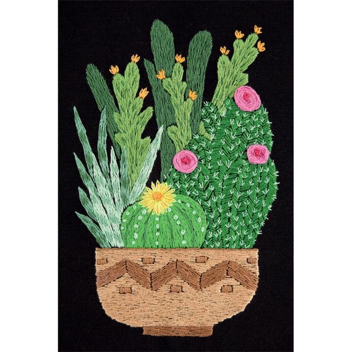 """Набор для вышивания PANNA """"Живая картина"""" арт. JK-2133 Кактусы в кашпо 12,5х17 см"""