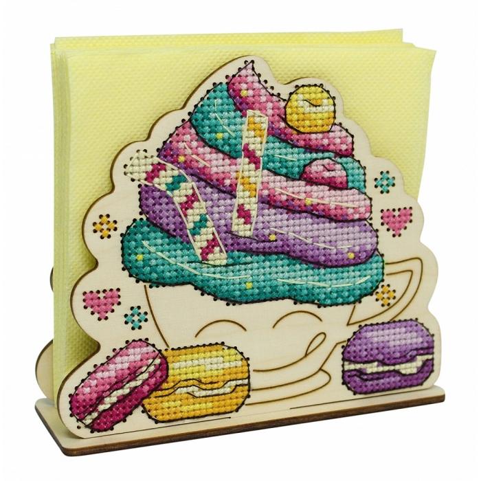 Набор для вышивания Щепка арт.О-023 Салфетница Пирожное 15х5х11 см