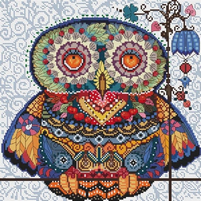 Набор для вышивания нитками БЕЛОСНЕЖКА арт.БЛ.167-14 Волшебная сова 27,5х27,5см