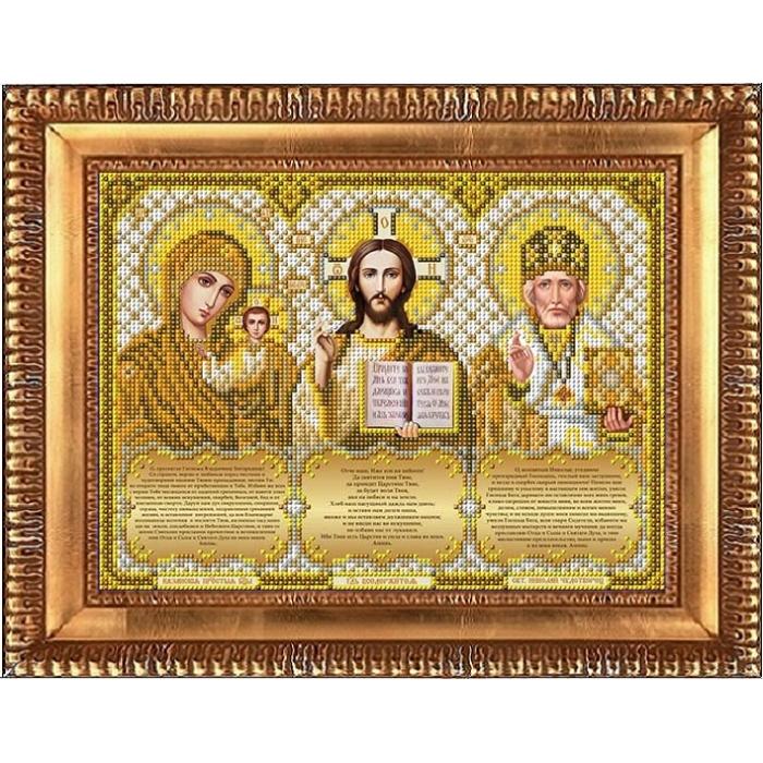 Рисунок на габардине бисером БЛАГОВЕСТ арт.И-4092 Триптих с молитвами в золоте 20х26 см