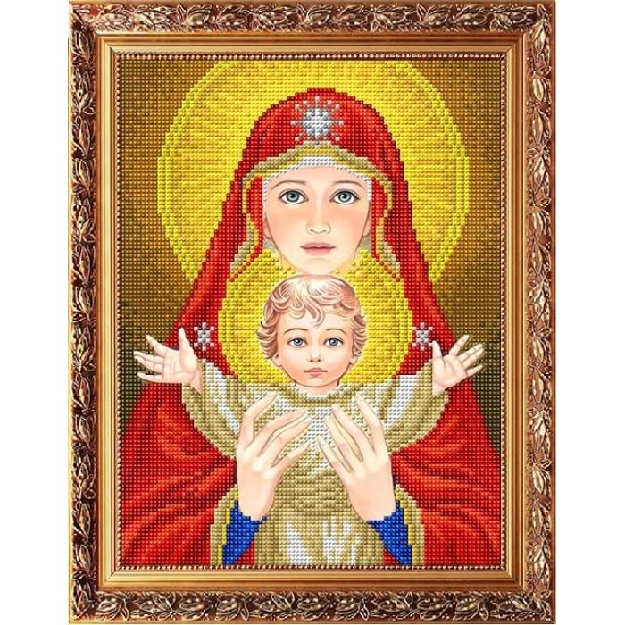 Рисунок на габардине СЛАВЯНОЧКА арт. ААМА-4002 Богородица с младенцем в красном 20х25 см