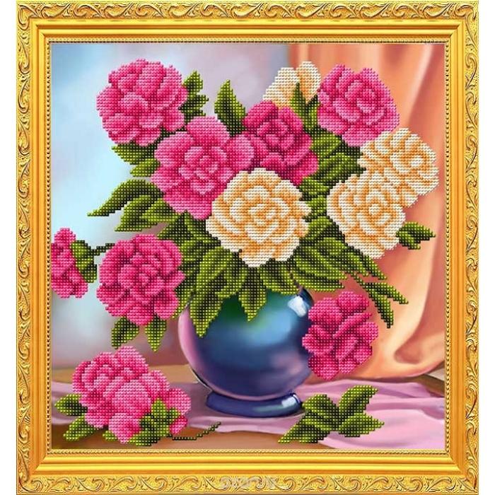 Рисунок на габардине бисером БЛАГОВЕСТ арт.К-3113 Пионы у окна 28х28 см