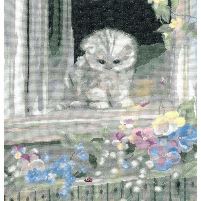 Набор для вышивания мулине НИТЕКС арт.0089 Любопытный котенок 30х33 см