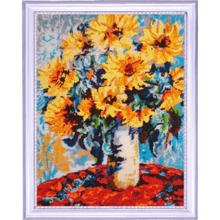 Набор для вышивания BUTTERFLY арт. 138 Подсолнухи в вазе. По мотивам К. Моне 35х27 см