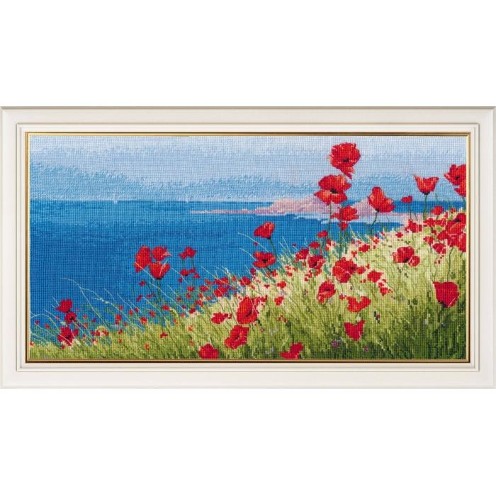 Набор для вышивания ОВЕН арт. 1028 Лето, море, маки 37х20 см