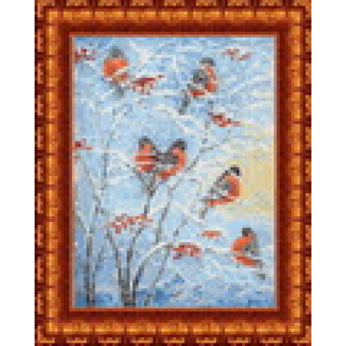 Канва с нанесенным рисунком КАРОЛИНКА арт. КК-018 Снегири 23х30 см