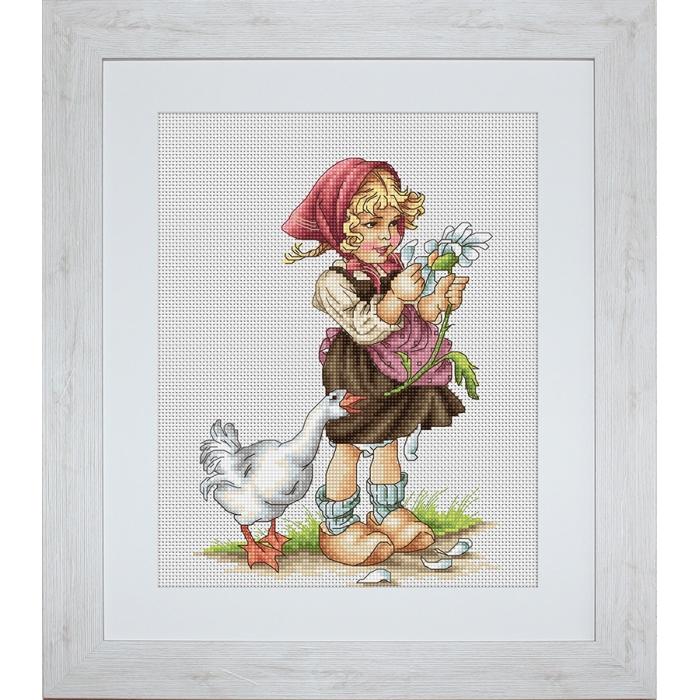 Набор для вышивания LUCA-S арт. B1047 Девочка с гусем 14,5х20 см