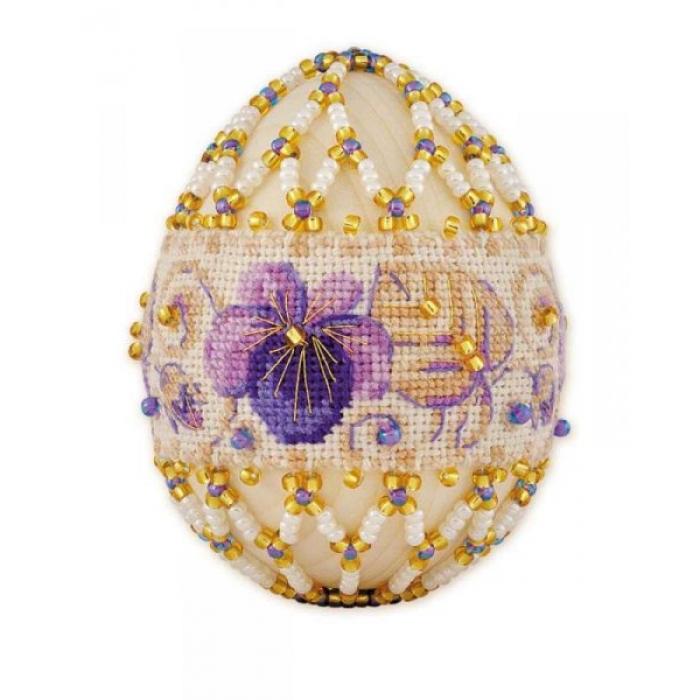 Набор для бисероплетения РИОЛИС арт.В185 Яйцо пасхальное Фиалки 6х4,5 см
