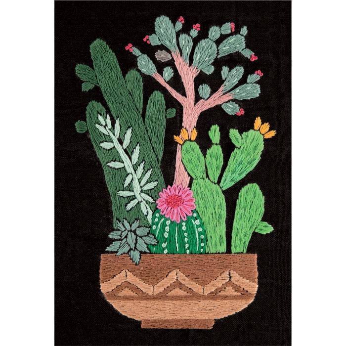 """Набор для вышивания PANNA """"Живая картина"""" арт. JK-2134 Кактусы в горшке 12,5х17 см"""