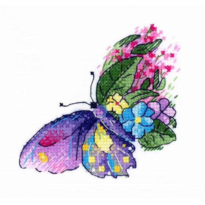 Набор для вышивания ЖАР-ПТИЦА арт.В-539 Цветочный полет 10х10 см