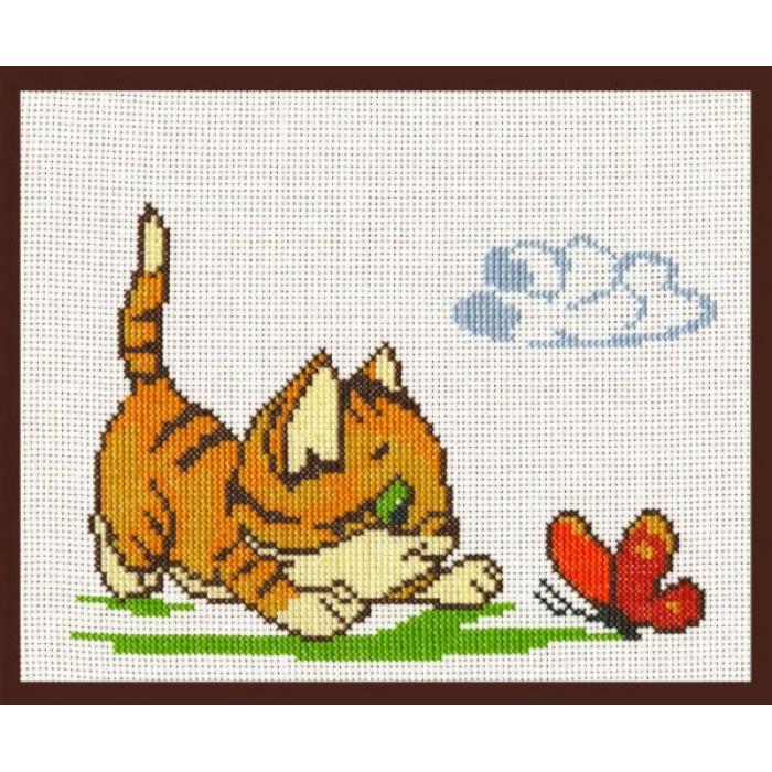 Набор для вышивания ПАЛИТРА арт.05.001 Котенок с бабочкой 20х15 см