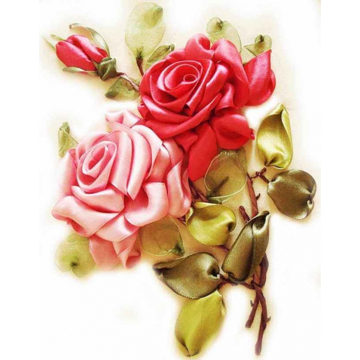 Вышивка лентами ЦВЕТНОЙ арт.VL007 Розы 20х30 см