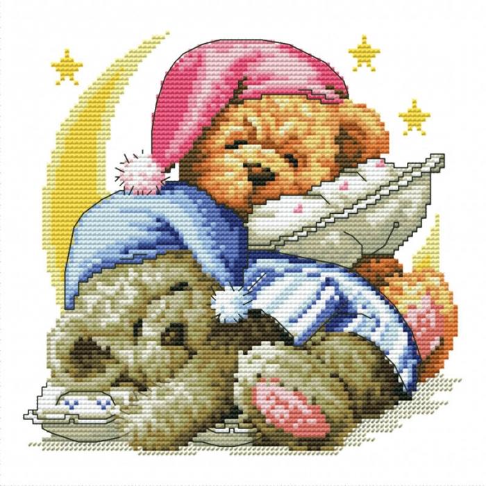 Набор для вышивания нитками БЕЛОСНЕЖКА арт.БЛ.776-14 Два медвежонка 17,5х18см