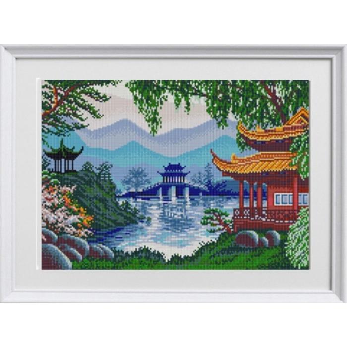 Рисунок на ткани (Бисер) КОНЁК арт. 1290 Китайские пагоды 29х39см