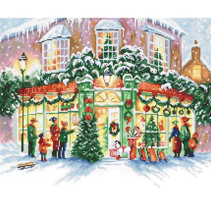 Набор для вышивания LETI арт. 914 Рождественский магазин 34х28 см