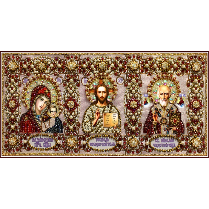 Набор для вышивания хрустальными бусинами ОБРАЗА В КАМЕНЬЯХ арт. 7739 Иконостас 18х38,7 см