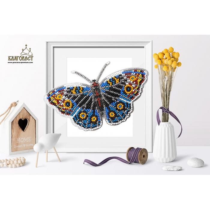 Набор для вышивки бисером 3-D БЛАГОВЕСТ арт.Б-005 Бабочка Юнония Орития 14х8 см