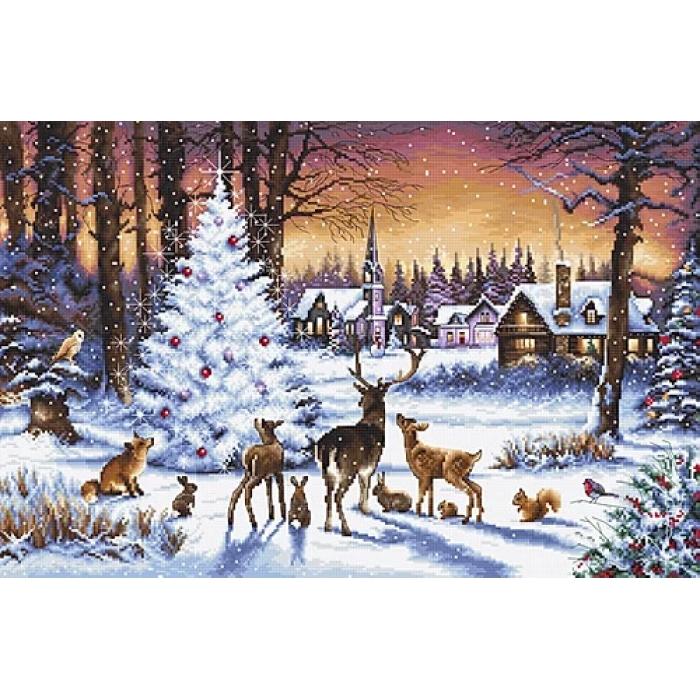 Набор для вышивания LETI арт. 947 Рождественский лес 46х30 см