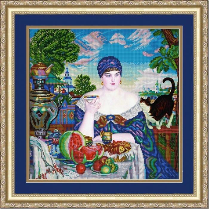 Рисунок на ткани (Бисер) КОНЁК арт. 1260 За чаем 40х40 см