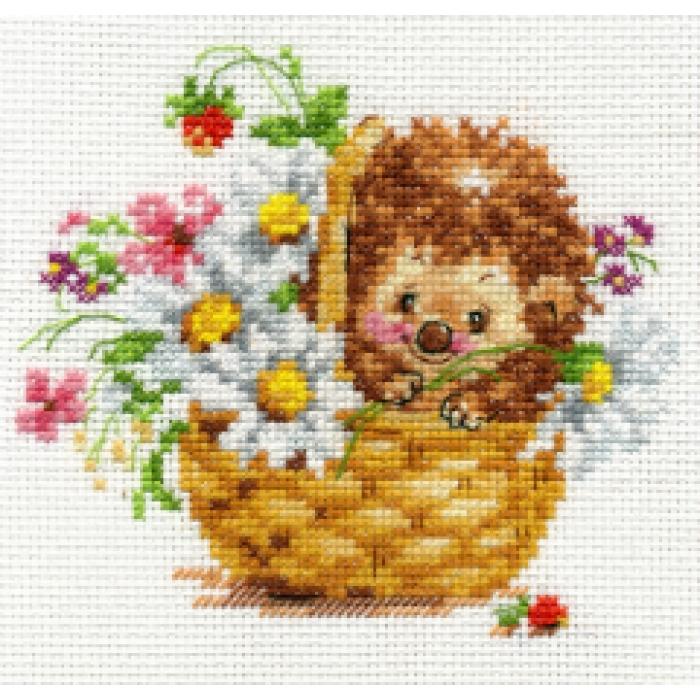 Набор для вышивания АЛИСА арт.0-113 Ежик в ромашках 13х11 см
