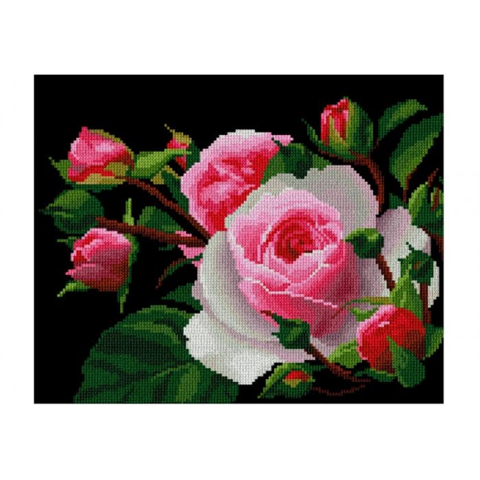 Набор для вышивания мулине НИТЕКС арт.0002 Роза 30х22,5 см
