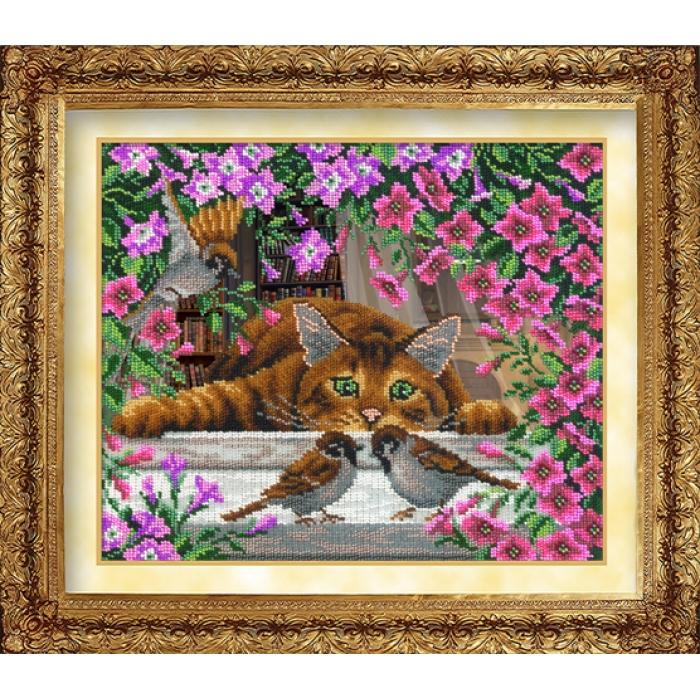 Набор для вышивания бисером РУССКАЯ ИСКУСНИЦА арт.1019 Искушение кота Василия 31х26 см