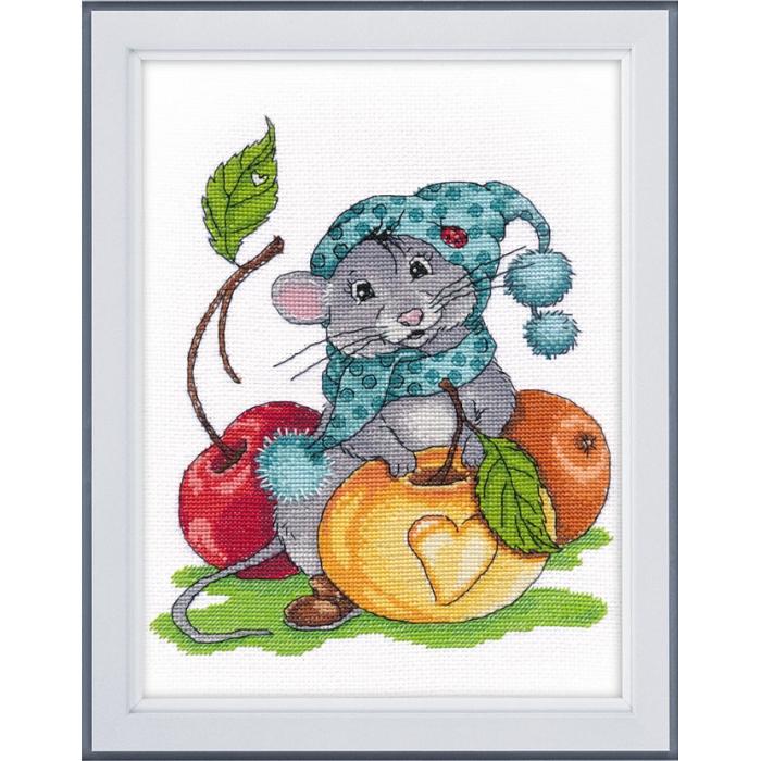 Набор для вышивания ОВЕН арт. 1224 Запасливый мышонок 20х17 см