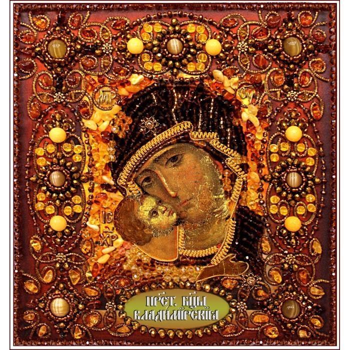 Набор для вышивания хрустальными бусинами ОБРАЗА В КАМЕНЬЯХ арт. 77-Ц-05 Богородица Владимирская 17х18 см