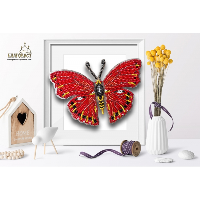 Набор для вышивки бисером 3-D БЛАГОВЕСТ арт.Б-027 Бабочка Cymothoe Excelsa 13х8,5 см