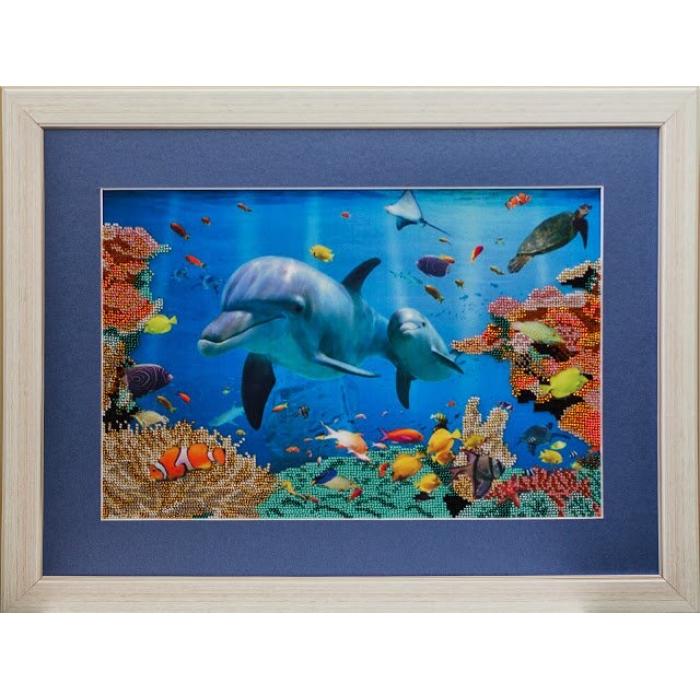Набор для вышивания бисером СЛАВЯНОЧКА арт. С-008 Дельфины 25х38 см