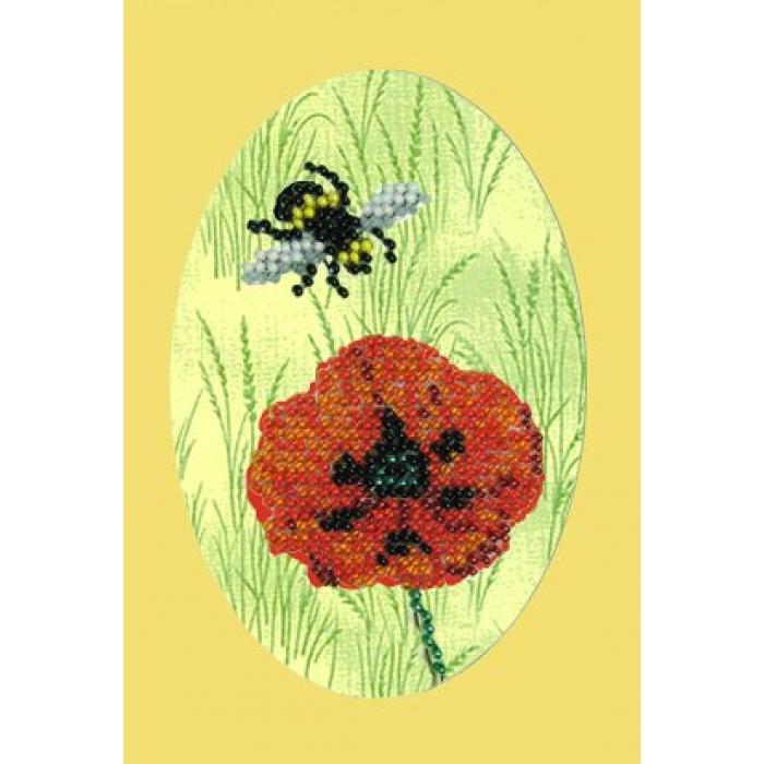 Набор для вышивания ВЫШИВАЛЬНАЯ МОЗАИКА арт. 106ОТ Пчелка и мак 10х15см