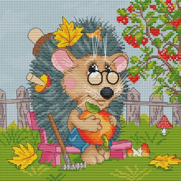 Набор для вышивания нитками БЕЛОСНЕЖКА арт.БЛ.178-14 Ёжик садовод 27х27см