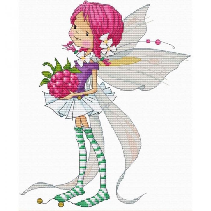 Набор для вышивания нитками БЕЛОСНЕЖКА арт.БЛ.903-14 Феечка с малиной 18х21.5см