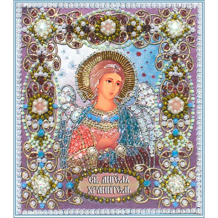 Набор для вышивания хрустальными бусинами ОБРАЗА В КАМЕНЬЯХ арт. 7710 Ангел Хранитель 14,5х16,6 см