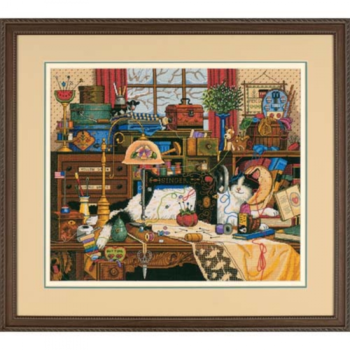Набор для вышивания DIMENSIONS арт.DMS-03884 Кот в швейной комнате 36х30 см