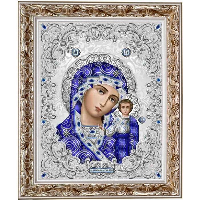 Рисунок на ткани бисером БЛАГОВЕСТ арт.ЖС-3001 ПБ Казанская в жемчуге
