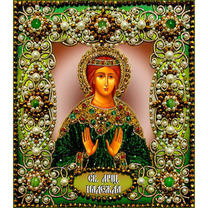 Набор для вышивания хрустальными бусинами ОБРАЗА В КАМЕНЬЯХ арт. 77-И-18 Святая Надежда 14,5х16,5 см