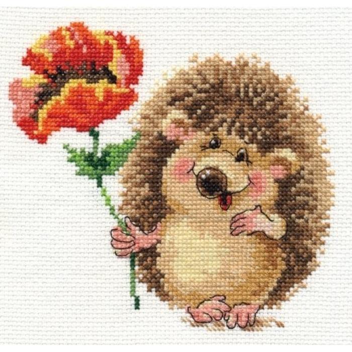 Набор для вышивания АЛИСА арт.0-116 Ежик с маком 14х13 см