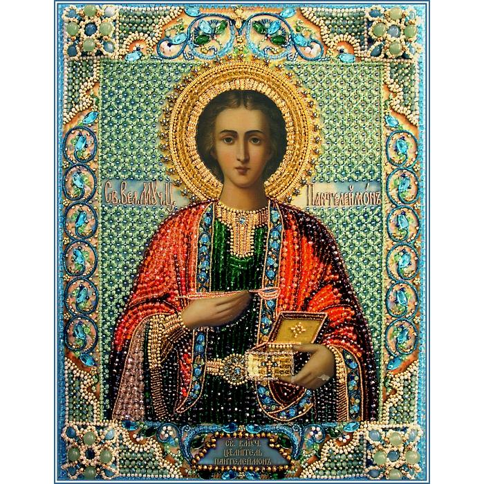 Набор для вышивания хрустальными бусинами ОБРАЗА В КАМЕНЬЯХ арт. 7740 Святой Пантелеймон целитель 32х25,5 см