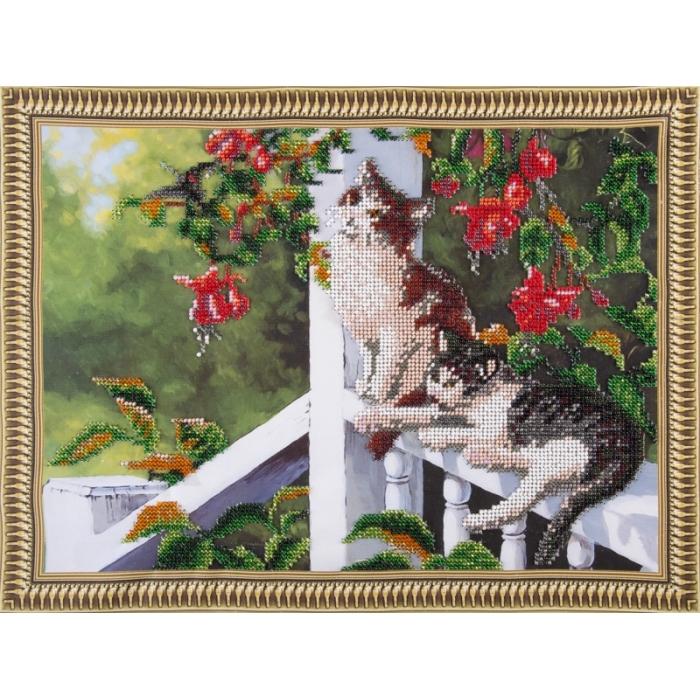 Набор для вышивания бисером КОЛОР КИТ арт.КК.VS022 Котята в саду 30х40 см