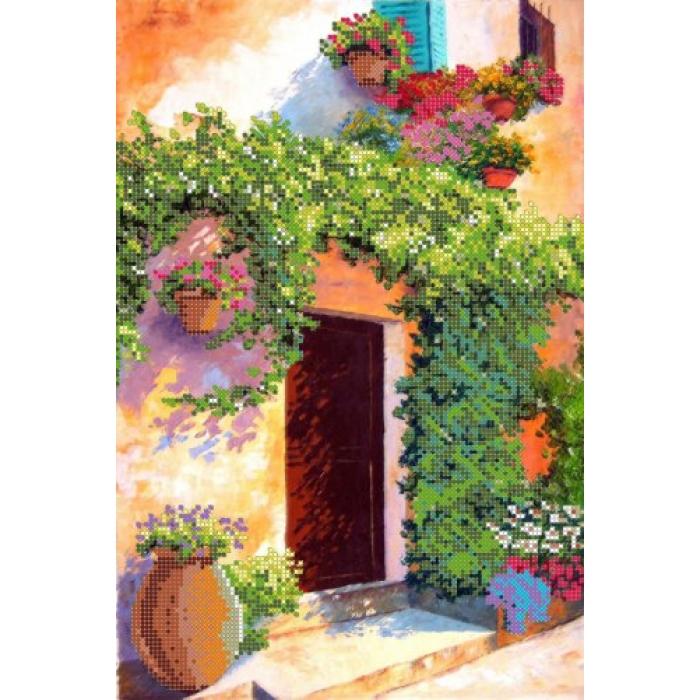 Рисунок на ткани для вышивания бисером КАРТИНЫ БИСЕРОМ арт.S-028 Цветущий двориK-2 24х35 см