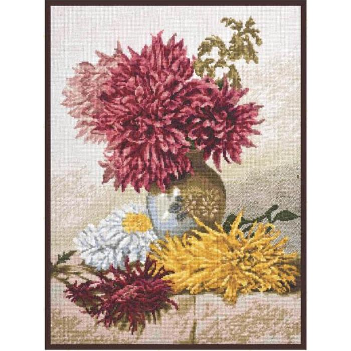 Набор для вышивания ПАЛИТРА арт.01.014 Хризантемы 29х39см