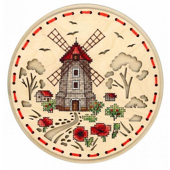 Набор для вышивания Щепка арт.О-021 Сельская мельница 18х18 см
