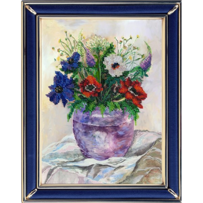 Набор для вышивания ВЫШИВАЛЬНАЯ МОЗАИКА арт. 139ЦВ Акварельные цветы. Анемоны 19х25,5см