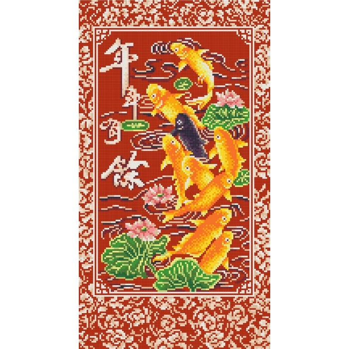 Рисунок на канве КОНЁК арт. 7801 9 рыбок богатства 25х45 см