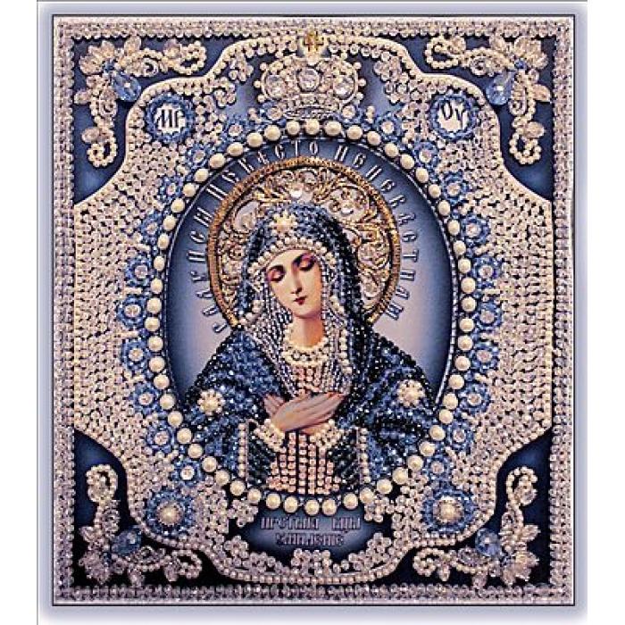 Набор для вышивания хрустальными бусинами ОБРАЗА В КАМЕНЬЯХ арт. 7724 Богородица Умиление (жемчуг) 24,5х21,5 см