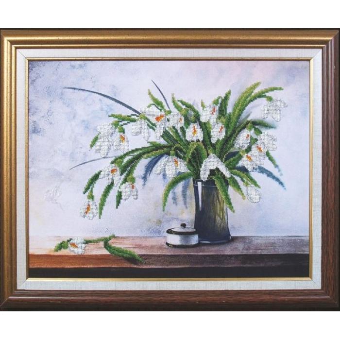 Набор для вышивания бисером МАГИЯ КАНВЫ арт.Б104 Первые цветы 41,5х32,5 см